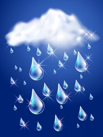 flecks: Clouds and rain in the dark blue sky