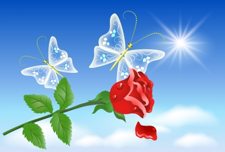 high beams: Red rose and transparent butterflies in the sky