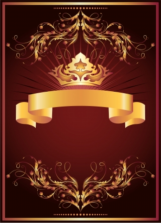 luxurious background: Background with luxurious golden ornament and crown