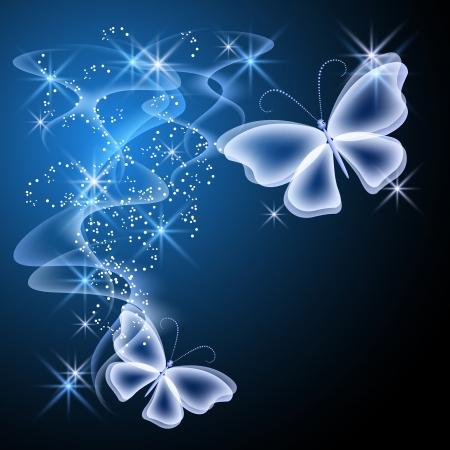 Smoke and glowing butterflies Vector