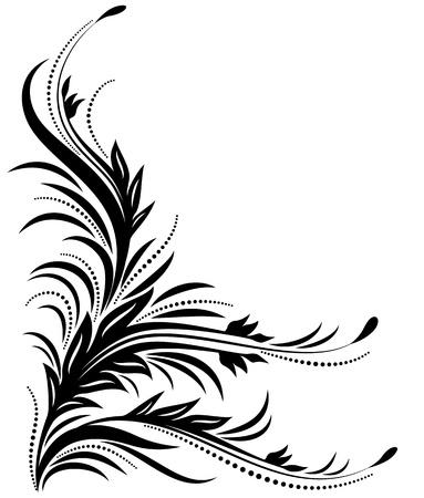 Decorative corner floral ornament Stock Illustratie