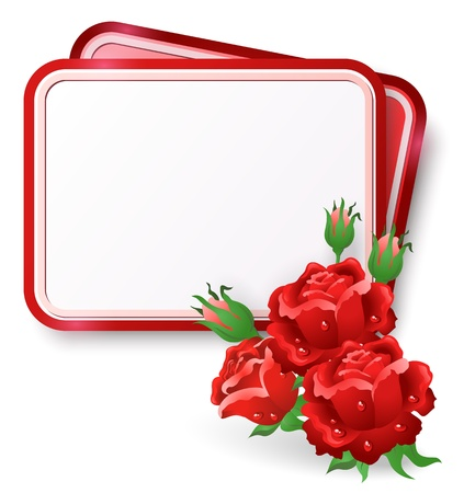 rose frame: Greeting card with red roses and dew drop