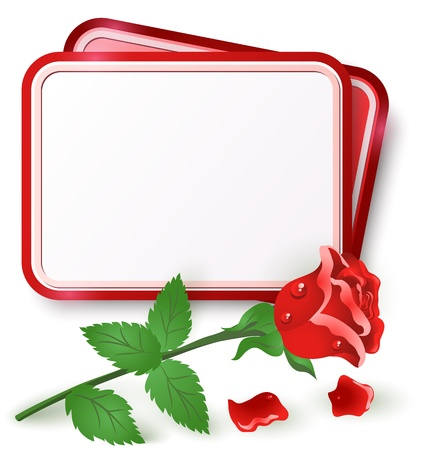 Greeting card with red rose and dew drop Vectores