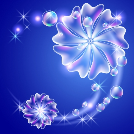 Glowing background with flowers and bubbles   Vector