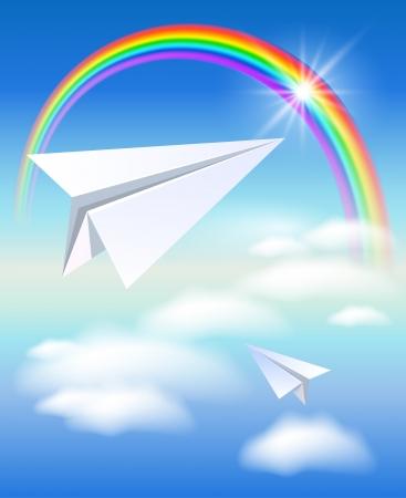 2 紙飛行機飛行、虹を  イラスト・ベクター素材