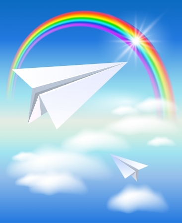 Two paper airplane flying to the rainbow Vector