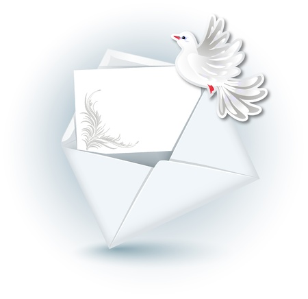 glued: Open envelope with paper for text and  dove