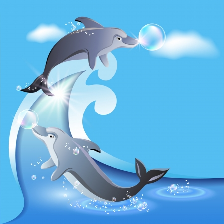 Flyer template with dolphins leaps from water Vector