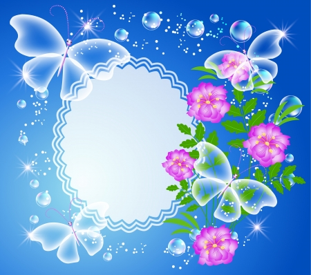 Magic background with flowers, butterflies, photo frame and a place for text or photo