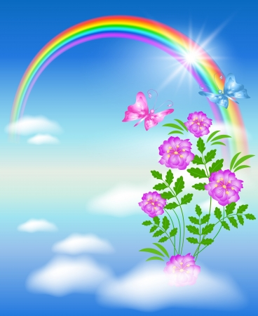 heaven light: Rainbow, peonies and butterflies