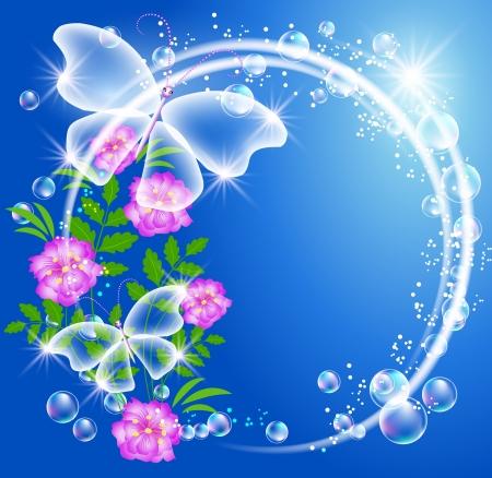 pink bubbles: Transparent butterflies, bubbles and flowers