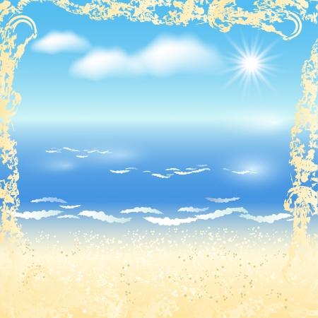 sandy: Sandy beach and sun in the sky Illustration