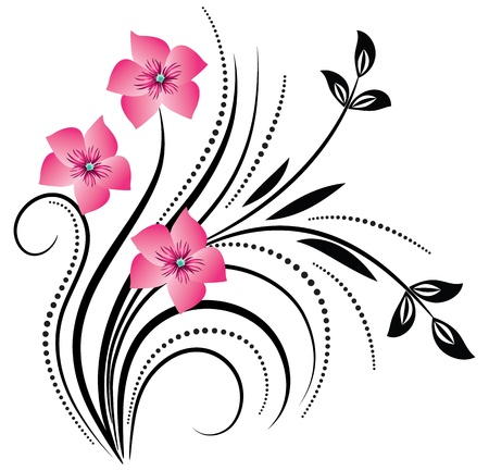 Decorative corner floral ornament Vector