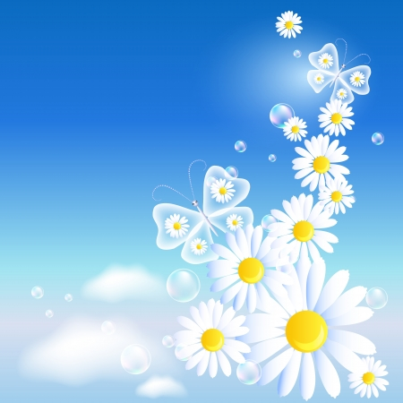 heaven background: Transparent butterflies and daisy in the blue sky