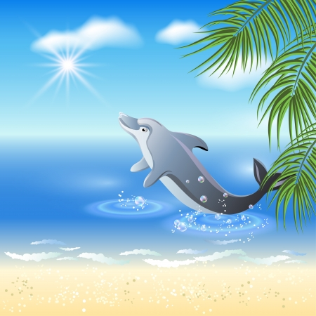 dolphin jumping: Dolphins leaps from water on the background of clouds and palms Illustration