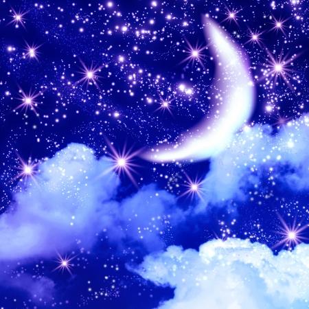noche estrellada: Luna y estrellas brillantes en el espacio Foto de archivo