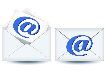 enclosed: Enclosed and open envelopes with e-mail sign