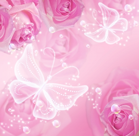 pink bubbles: Pink roses, stars and transparent  butterflies