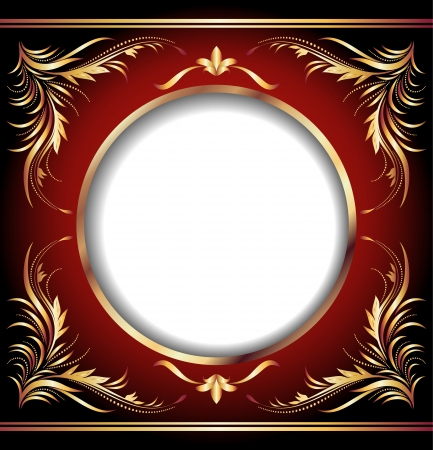 classic art: Background with golden ornament and round frame