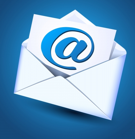 glued: Open envelope and paper with e-mail sign