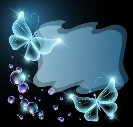 Transparent butterflies, star and bubbles Vector
