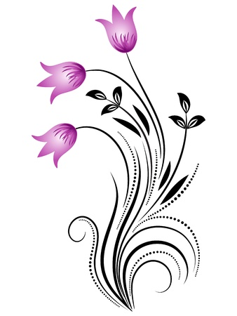 Decorative floral ornament with bluebells Vector