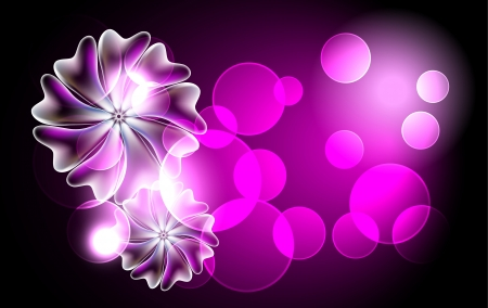 Glowing background with magic flowers Vector
