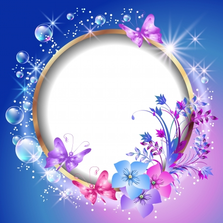 Round frame and floral ornament Vector