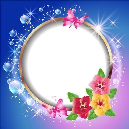 Trame ronde et ornement floral