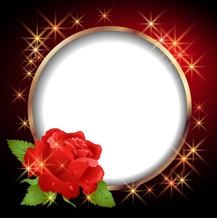 dewdrops: Round frame and red rose