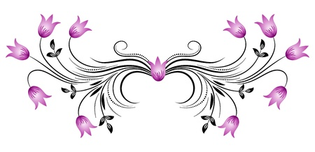 flower tattoo design: Decorative floral ornament with bluebells
