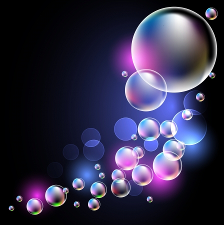 Glowing  background with transparent bubbles Vector