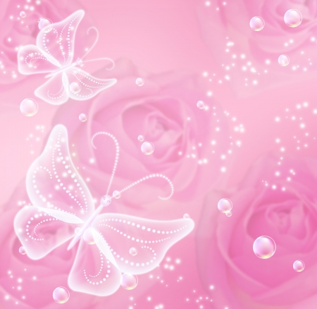 butterfly in flight: Pink roses, stars and transparent  butterflies