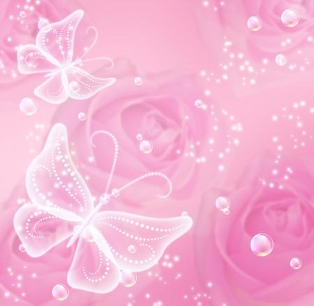 papillon rose: Roses roses, des ?toiles et des papillons transparents
