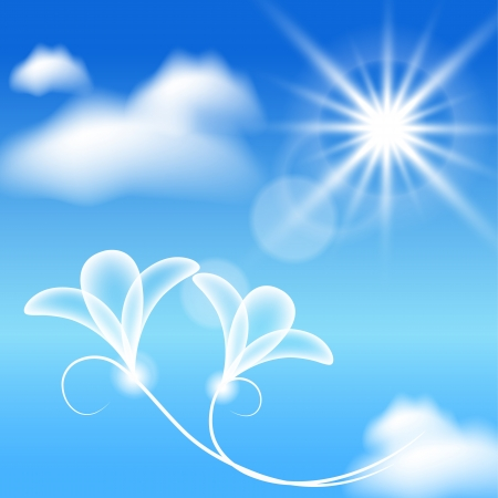 flecks: Clouds, sun and transparent flowers in the blue sky Illustration