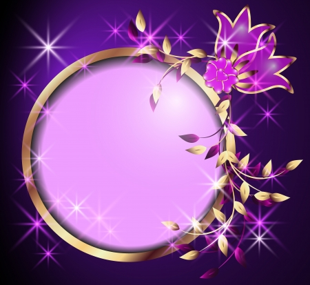 Round frame, flowers and stars Vector