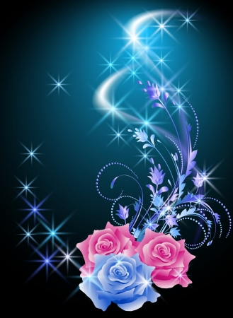 Glowing background with roses and stars