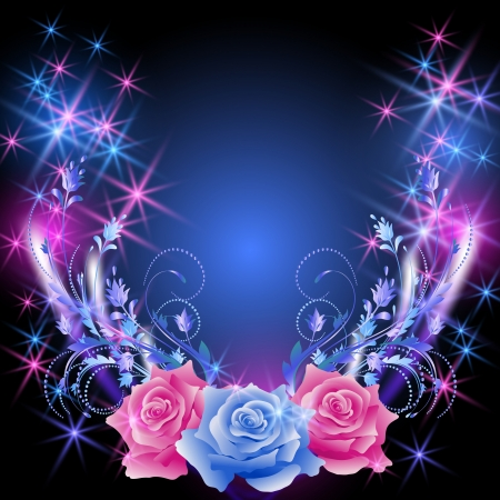 translucent: Glowing background with roses and stars