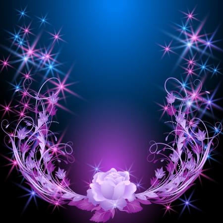 バラと星光る背景