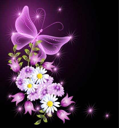 Flowers, stars and transparent butterfly