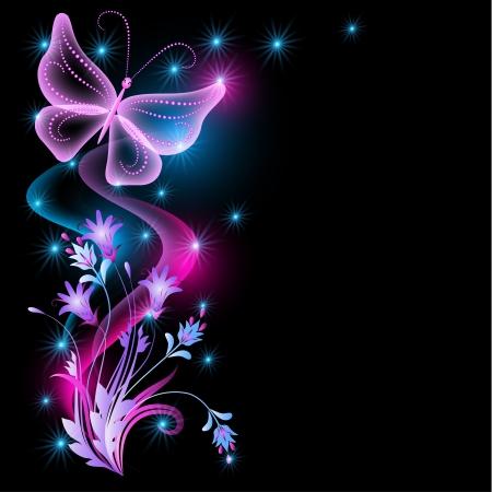 花、星、透明な蝶