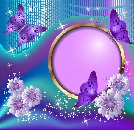 golden daisy: Round frame, violet flowers and butterflies