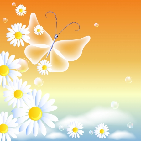 Flowers and butterfly in the morning sky Vector