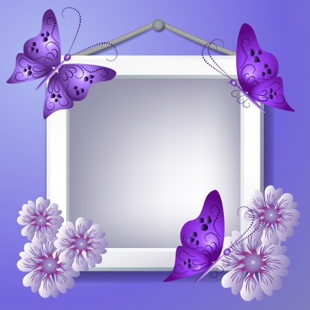 snapshot: Photo frame with violet flowers and butterflies