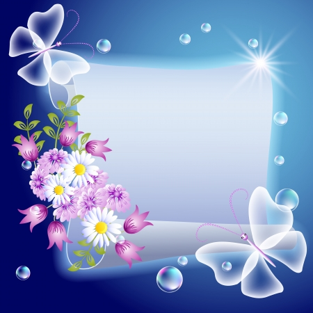 high beams: Parchment with flowers and transparent butterfliers