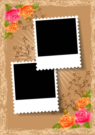 caption: Page layout photo album with roses