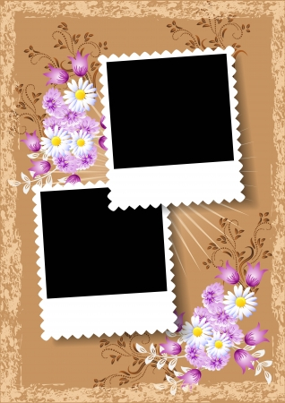 excoriation: Page layout photo album with flowers Illustration