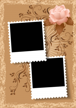 excoriation: Page layout photo album with rose