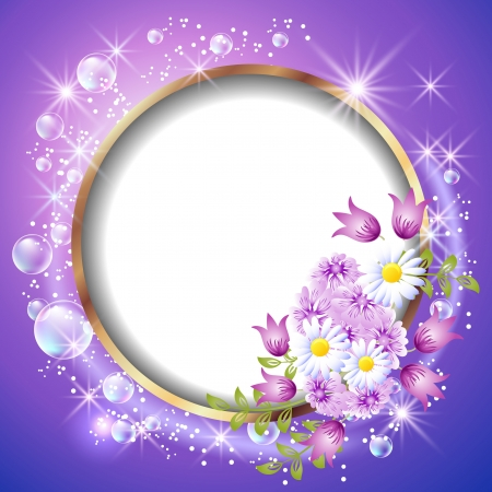Round frame and flowers Vector