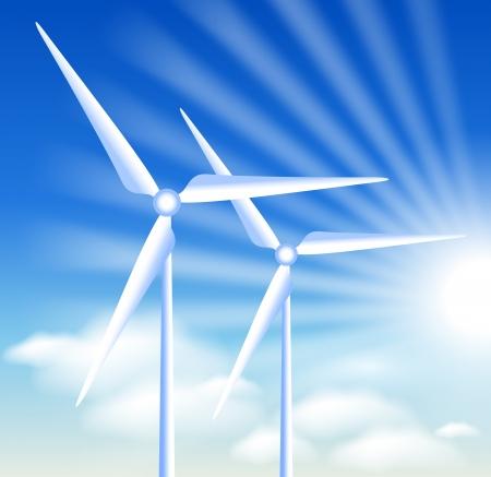 alternatively: Le turbine eoliche sullo sfondo del cielo azzurro e sole Vettoriali
